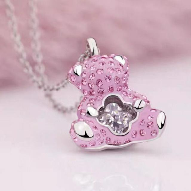 施華洛粉色泰迪熊項鍊
