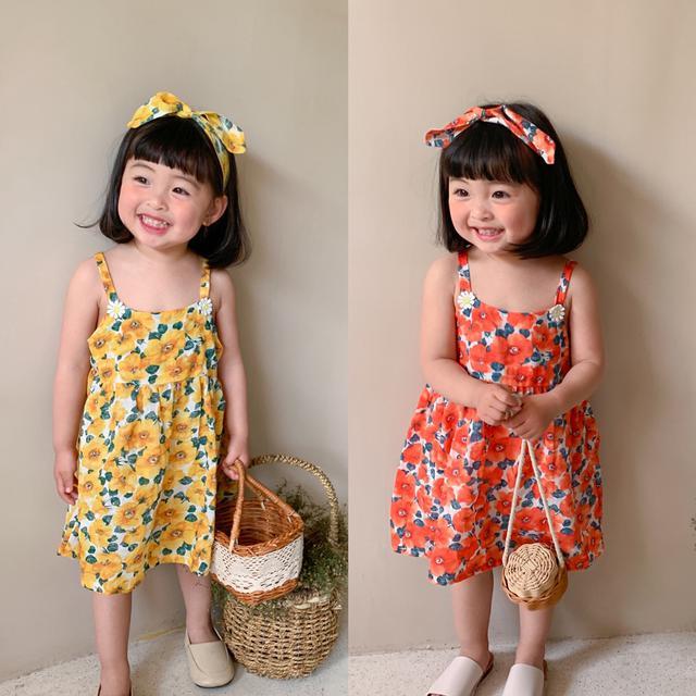 韓國童裝批發2021夏款女童太陽花吊帶連衣裙