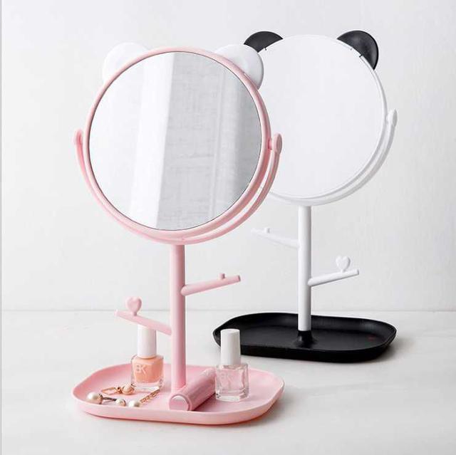 [雜貨店]帶托盤可旋轉桌上化妝鏡 1個