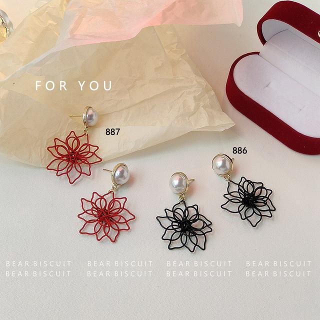 黑色系925銀針韓國東大門耳飾彼岸花烤漆氣質新款潮 耳釘耳環