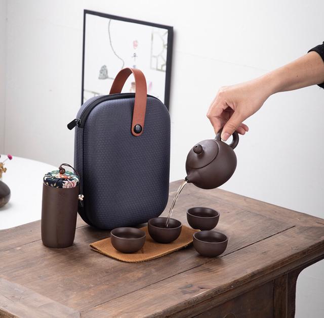 【到哪都是茶會所】紫砂便攜式貴族茶具組 雙11特惠 滿額加赠防爆耐熱玻璃泡茶組