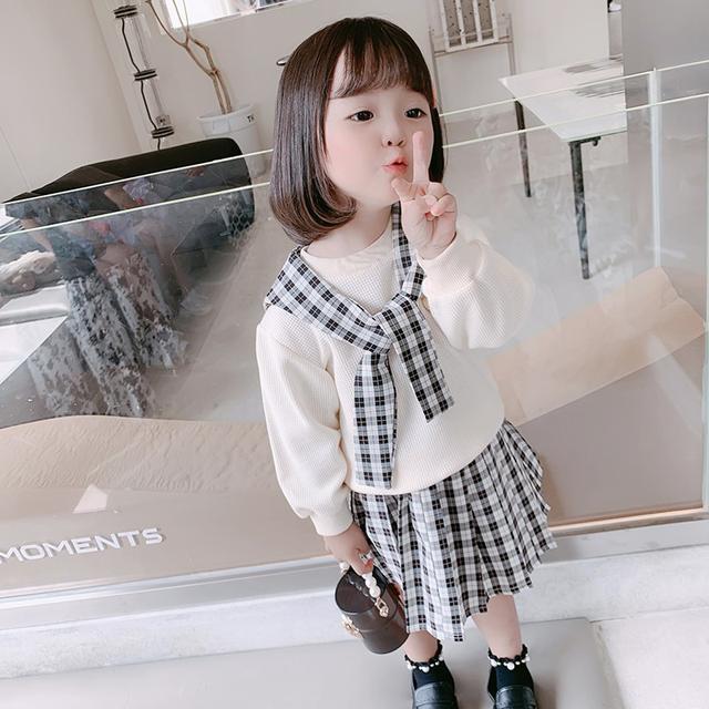 預購🌈韓國女童秋装裙子套装洋氣新款半身百褶裙