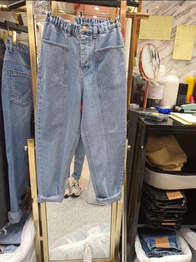 韓製雙口袋淺色寬褲