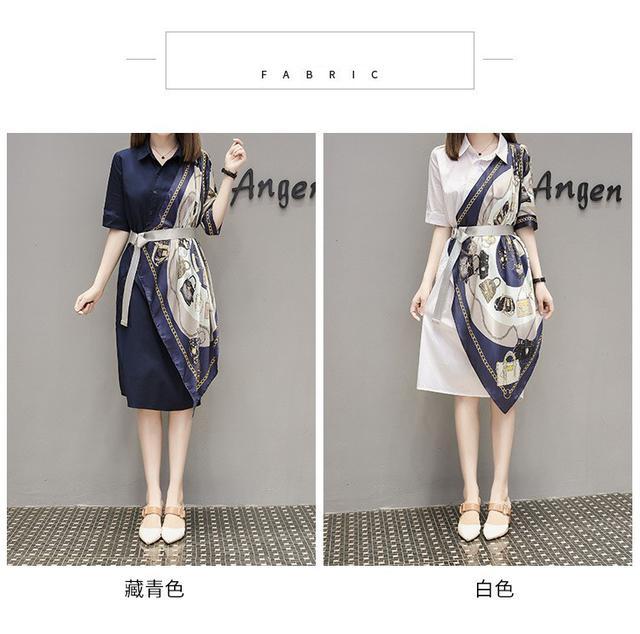 大尺碼拼接襯衫心機設計感連衣裙