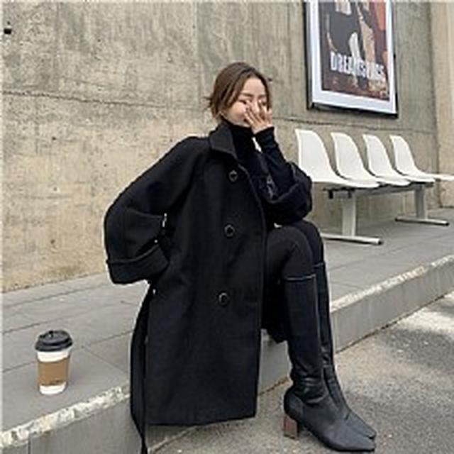 SE5965專櫃優質 赫本風黑色小個子毛呢外套