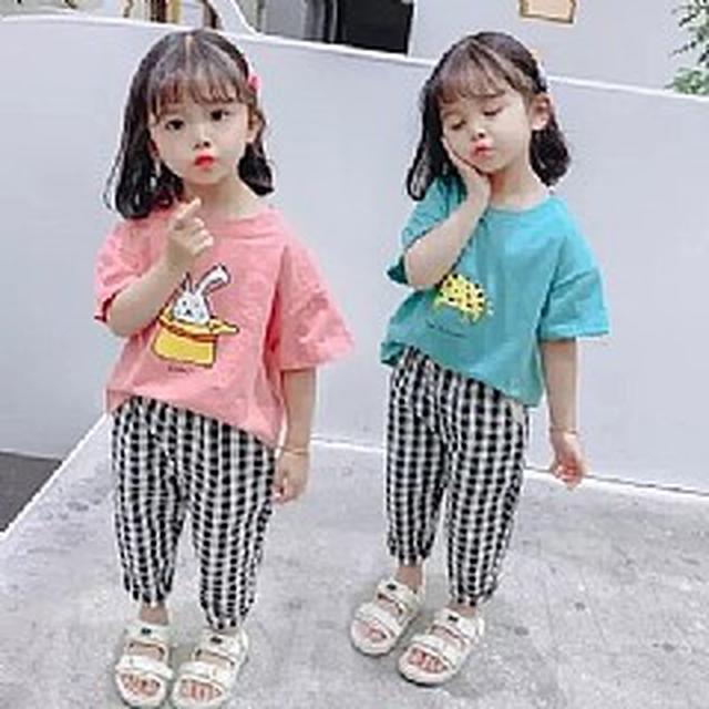 優質小童裝 (90-130) 長頸鹿T恤+格子褲套裝(2色)