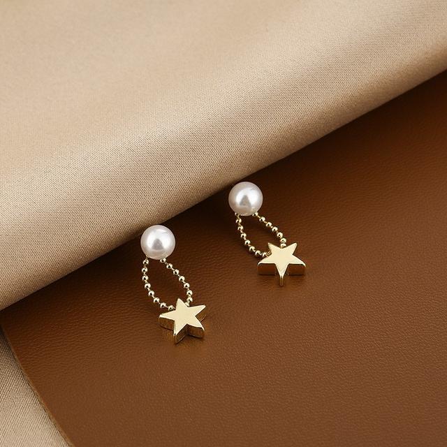 CX5215  針珍珠鍊條五角星耳墜耳環
