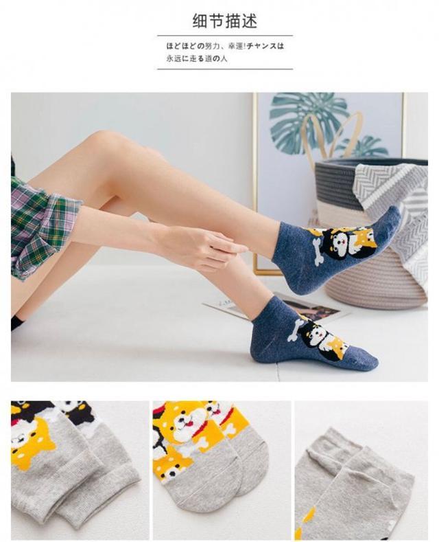 卡哇伊造型棉質帆船襪(一組5雙)