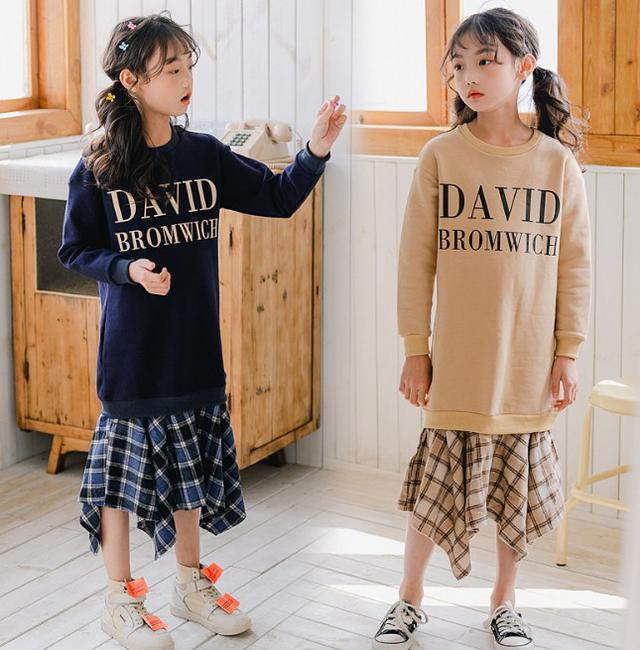 11 120-165 童裝 拼接格紋加絨連衣裙(2色)