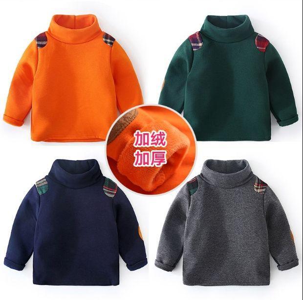 男童素色加絨加厚格紋補釘上衣 TP19013