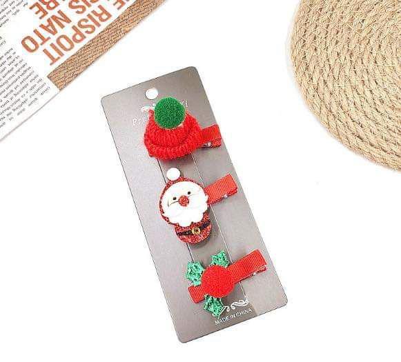 (預購S) 聖誕節立體安全包邊髮夾一卡3入(一組3卡/ 共9入)