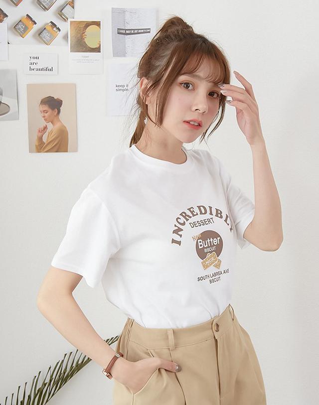 【零售&批發】「餅乾英字膠印短袖T恤上衣」