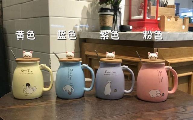 日式貓咪🐈陶瓷馬克杯(附杯蓋➕🥄 )