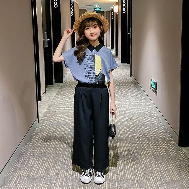 女童夏裝2021新款套裝潮流闊腿褲兒童裝網紅風夏季韓版大童兩件套