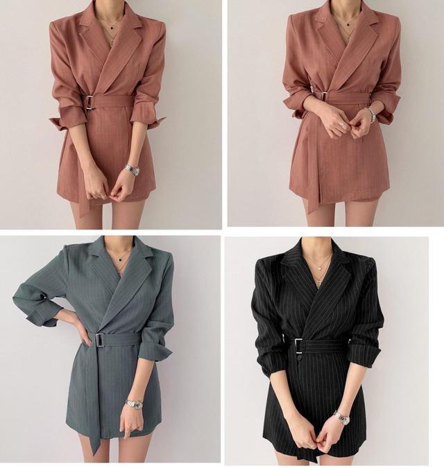 預購韓國同款西裝雪紡連身裙+腰帶