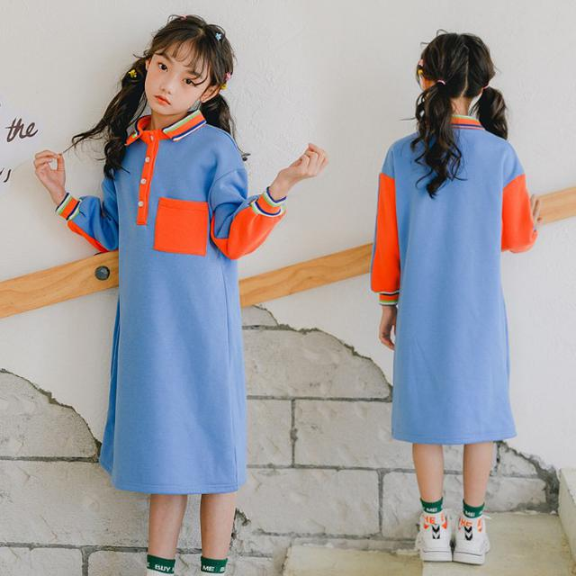 11 120-165 童裝 學院風加絨撞色連衣裙