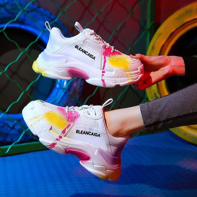 ins潮鞋塗鴉老爹鞋女2020新款厚底運動鞋透氣網面低幫跑步松糕鞋