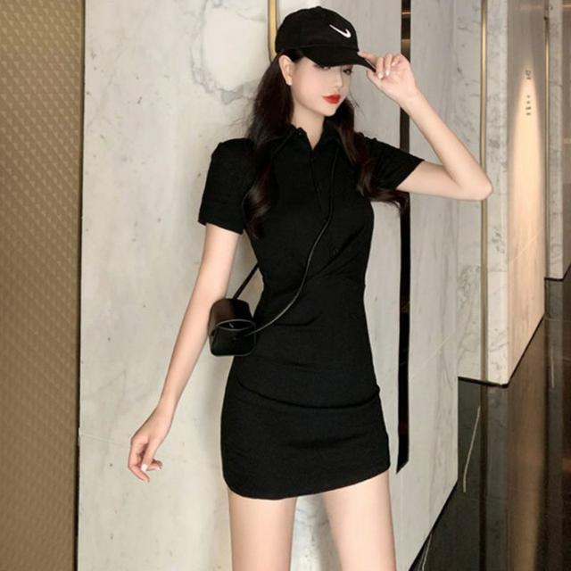 CFTK修身性感連衣裙女裝2021夏季新款韓版黑色POLO領緊身包臀短裙