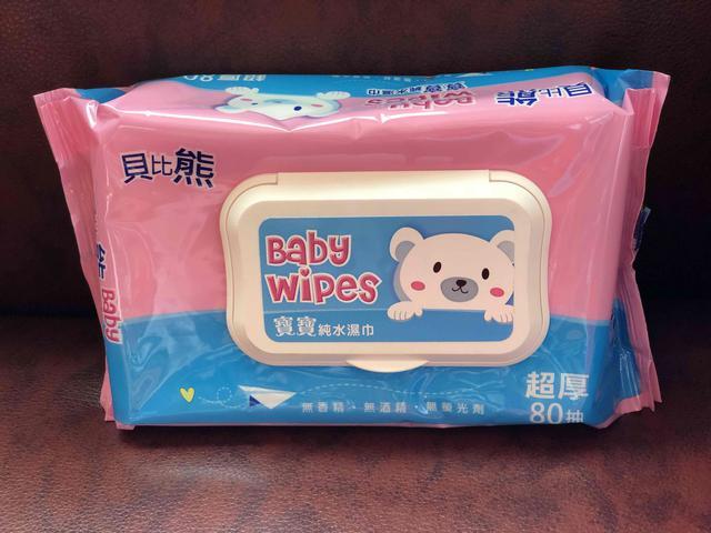 貝比熊 有蓋 80抽純水濕紙巾 一箱24包