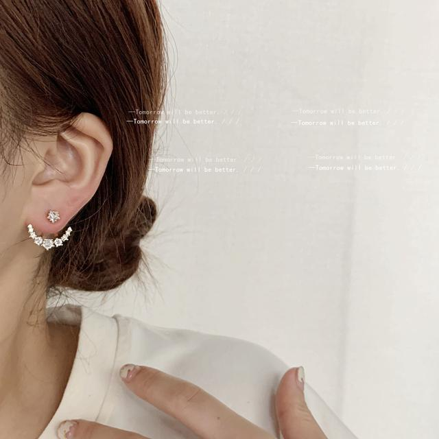 微鑲鋯石一款兩戴式耳釘S925銀針孫藝珍同款耳釘星月款時尚耳環女