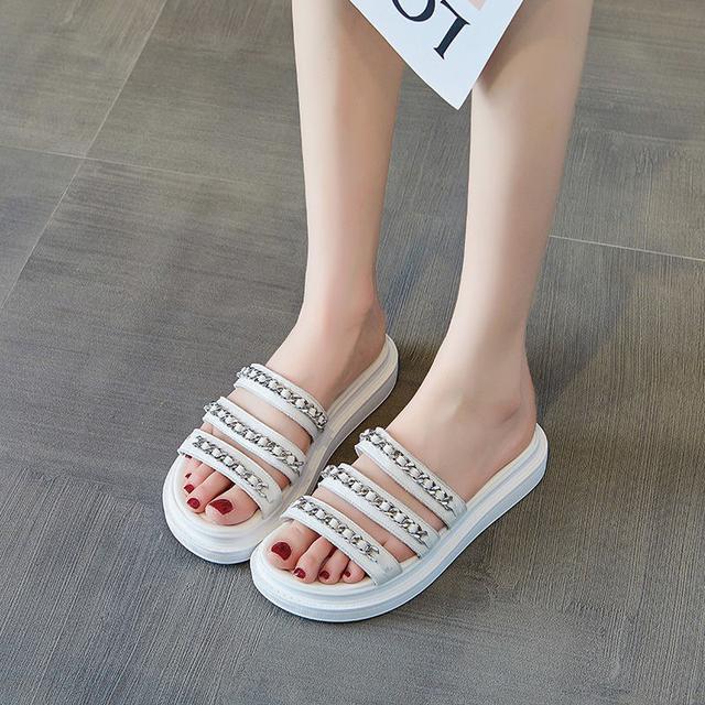 小香風涼拖鞋女夏外穿2020新款百搭一字拖ins網紅羅馬鞋