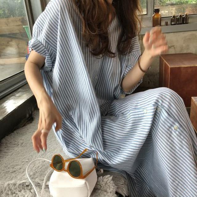 預購/韓國chic復古翻领單排扣寬鬆慵懒風短袖襯衫式條纹連衣裙(c)