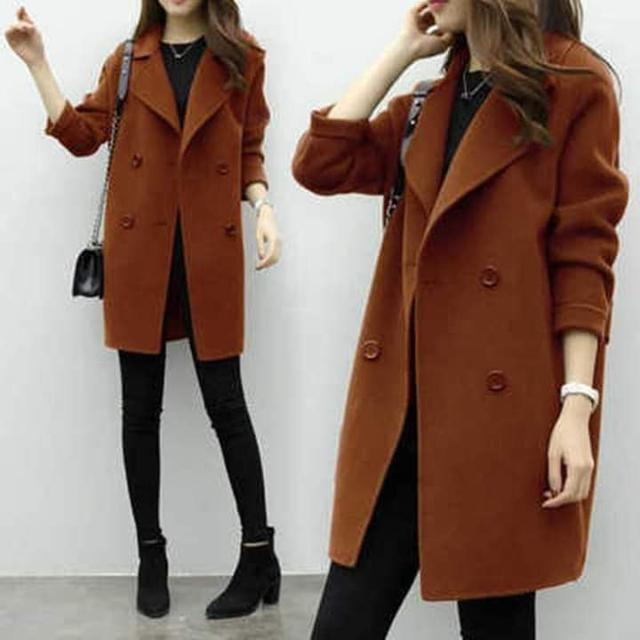 韓版中長款典雅毛呢大衣