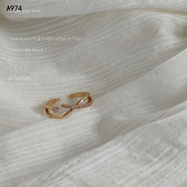 日韓交叉鑲鑽鋯石戒指女輕奢小眾設計感指環時尚氣質開口戒