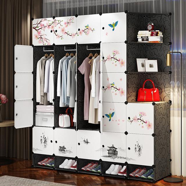 DIY組裝衣櫃隔板分層收納架儲物架塑膠宿舍神器床上衣櫃寢室置物架