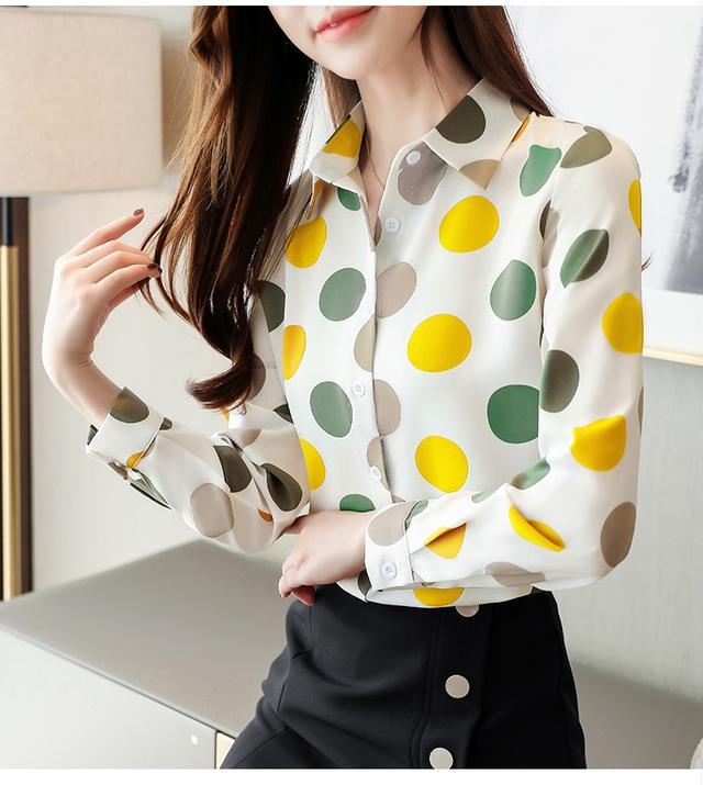 10 S-2XL 韓版寬鬆女上衣雪紡長袖 兩色