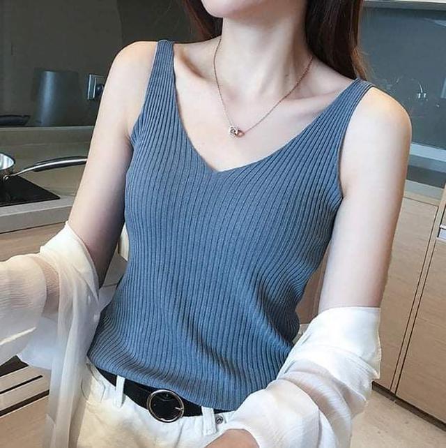 (預購S) K309 - 泫雅同款涼針織V領背心