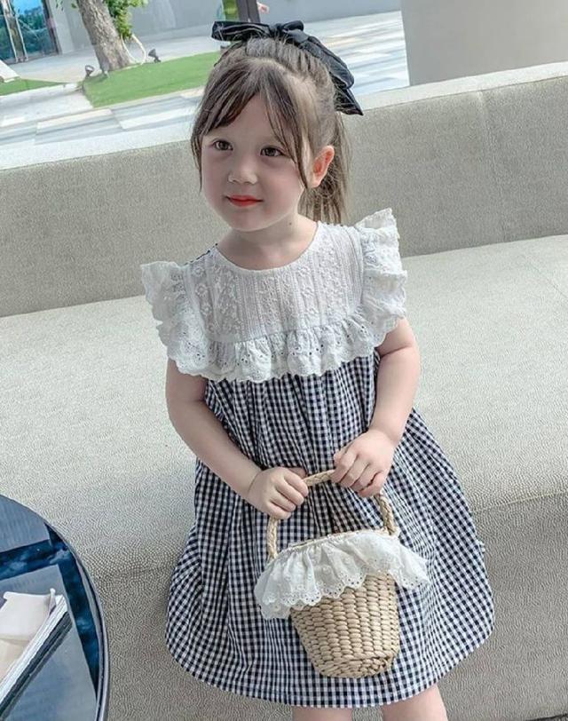 『預購』蕾絲荷葉領格子洋裝
