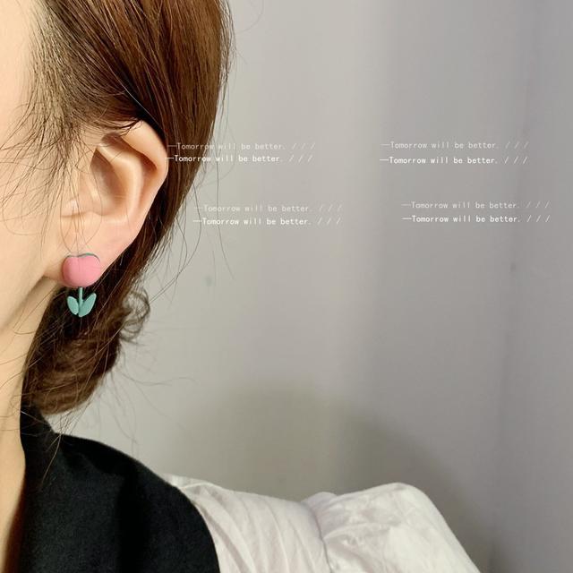 彩虹心情925銀針可愛鬱金香耳釘女 烤漆粉色女孩耳飾減齡款耳環