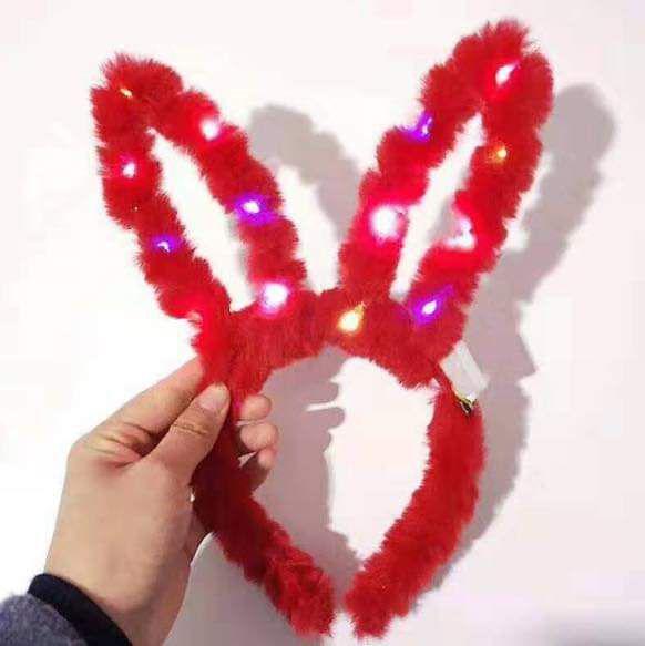 現貨1(預購S) 兔子耳加長發光14燈絨毛兔耳髮箍(一組3個)