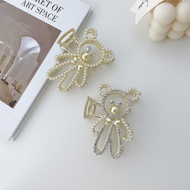 韓國IG金屬珍珠水鑽小熊髮夾後腦勺盤髮女鏤空夾子頭飾