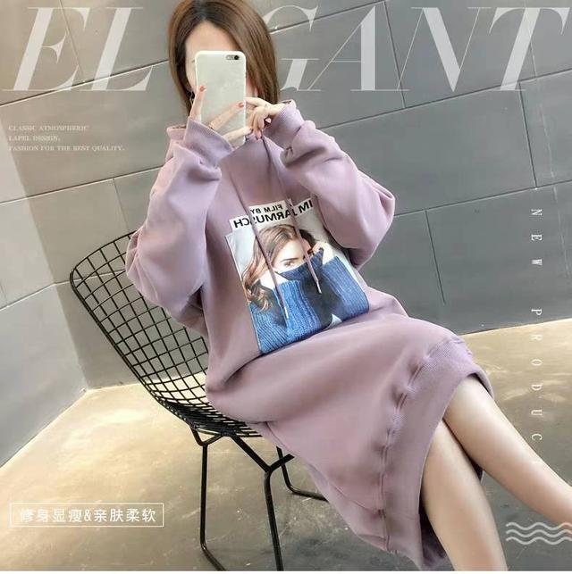 11 流行款 M-2XL 韓版 加絨百搭中長款衛衣裙(2色)