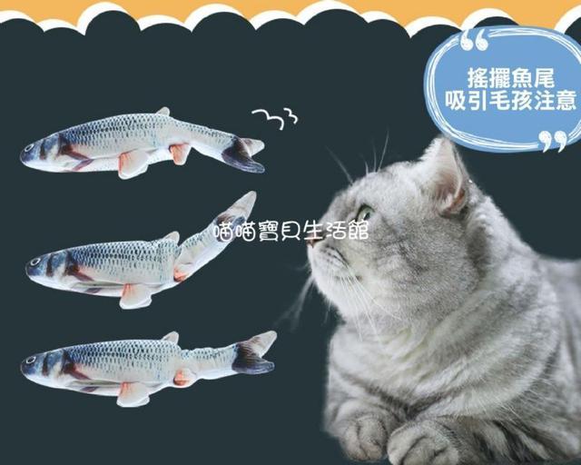 電動超仿真 活跳跳玩偶魚~內含貓薄荷 USB充電