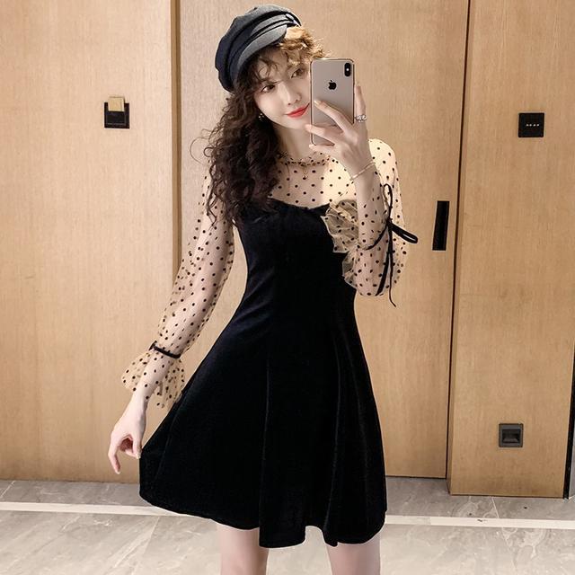 10月 S-XL 女神范小黑裙性感波點網紗連衣裙