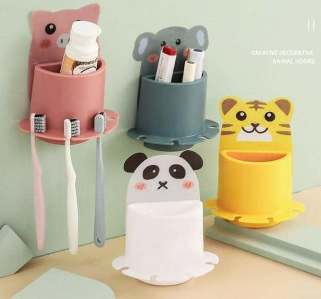 (預購S) G609 - 免打孔動物二合一收納盒+牙刷架