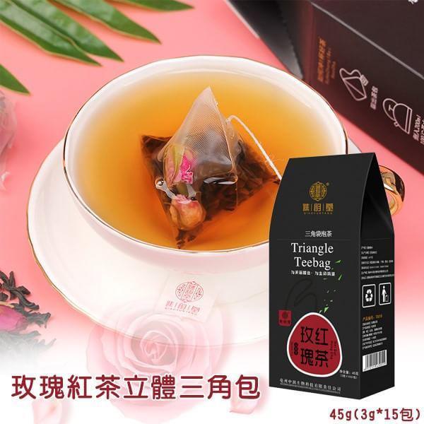 玫瑰紅茶立體三角包玫 /盒