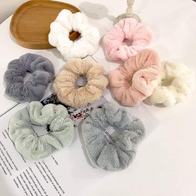 【預購】韓版純色絨布髮圈