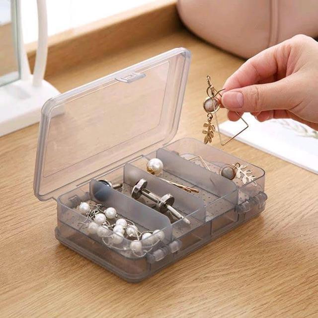 雙層分隔透明飾品小物收納盒