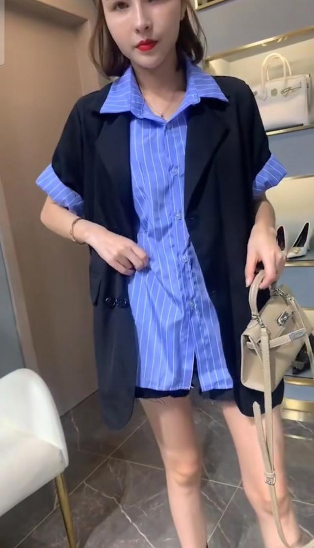 2020夏季新款时尚韩版女装宽松显瘦西装外套+条纹衬衫两件套套装