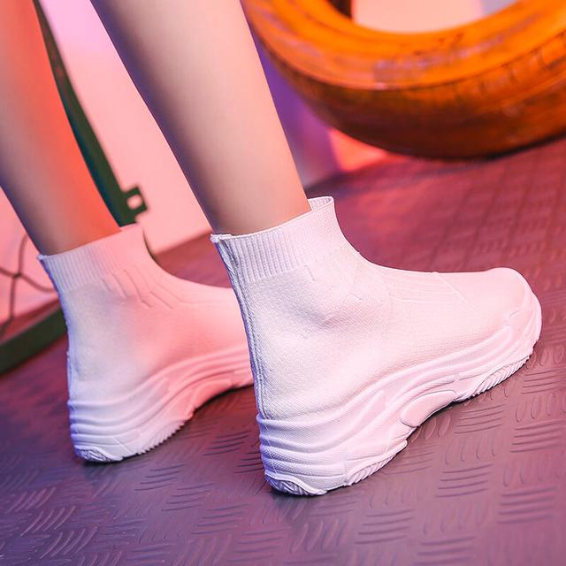 高幫襪子鞋女新款秋冬季增高厚底百搭韓版彈力加絨二棉運動老爹鞋