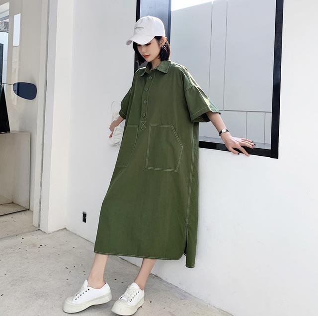 新款纯色法式桔梗裙大碼女胖mm顯瘦連衣裙(大)