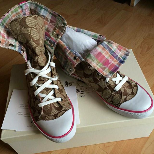 全新真品 Coach Q1456 Bonney Poppy 咖啡大C格紋帆布鞋