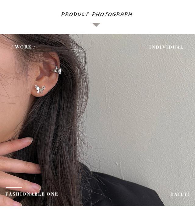 S925純銀簡約清新蝴蝶耳釘女生小眾ins風韓國無耳洞耳夾時尚飾品