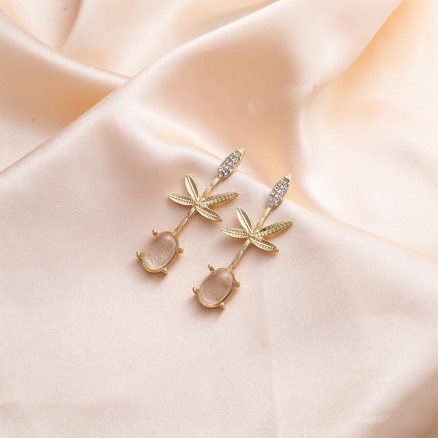 CX5223  秋日楓葉氣質透明水晶長款耳環