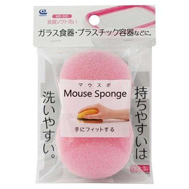 日本WAISE滑鼠造型食器海綿菜瓜布-粉色