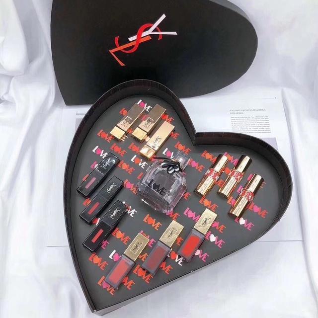 新版 限量版 愛心桃YSL聖羅蘭口紅唇釉13件套禮盒裝